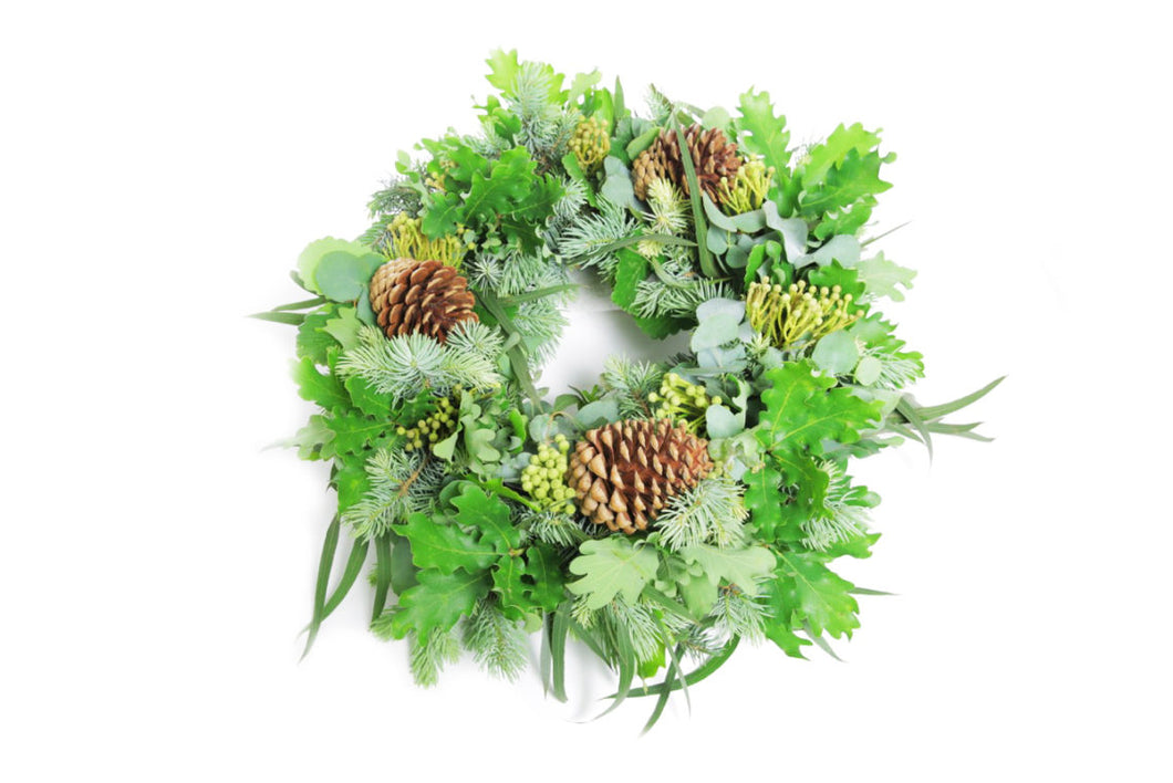 Fresh Green Foliage and Pine Cone Wreath