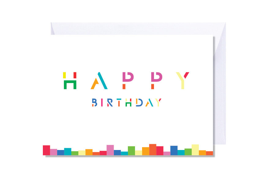 'Modern Happy Birthday' Kate Hill Greeting Card | Kate Hill Flowers