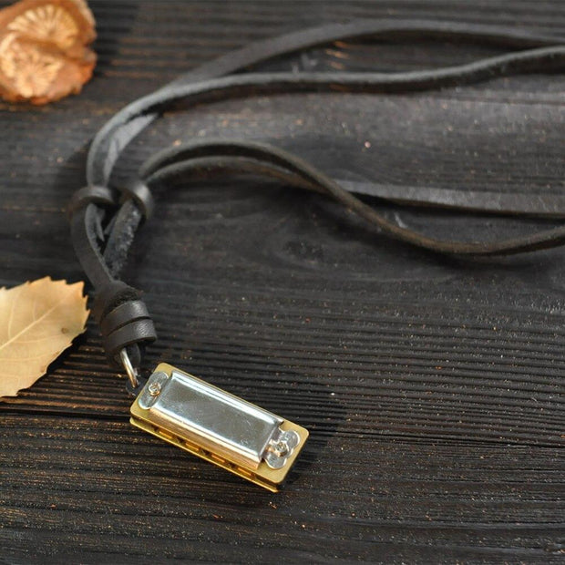 Mini Harmonica Leather Necklace