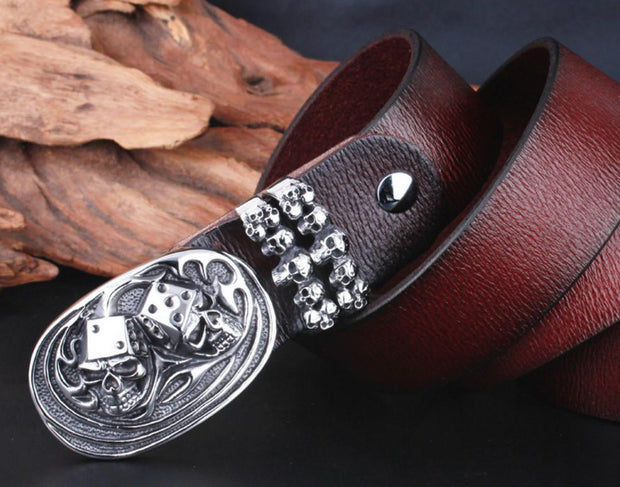 Skull Dice Leather Belt