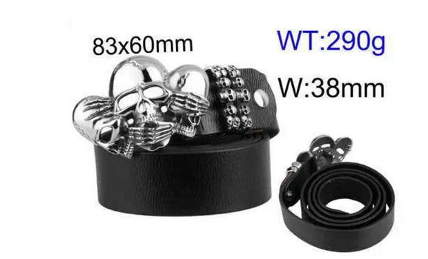3 Wise Skulls Leather Belt