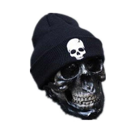 Embroidered Skull Beanie