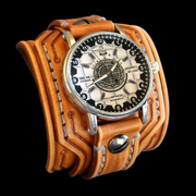Western Tan Leather Cuff Watch