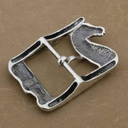 Solid Silver Horse & Skull Buckle