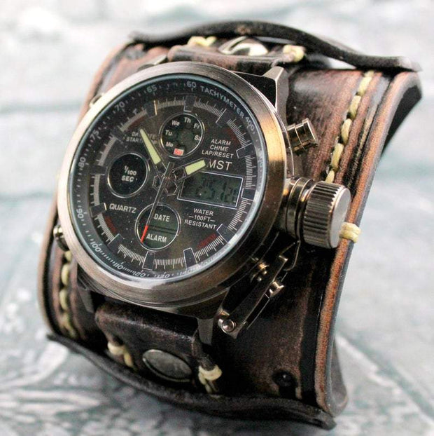 The Explorer Leather Cuff Watch