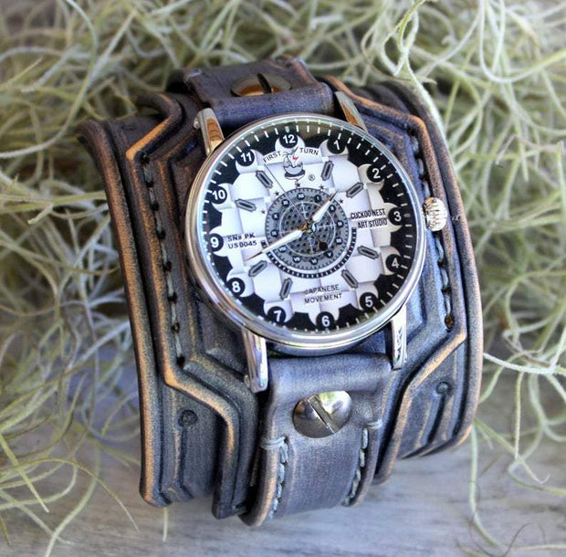 Western Brown Leather Cuff Watch