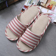 2017 New Style Household Linen Striped Skid Slippers Home Indoor Slipper Summer Women Lover Floor Shoe WS210