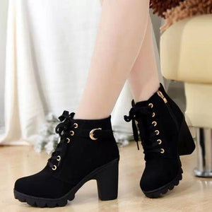 High quality woman boots fashion thick heel motorcycle female black  Martin boots shoes zapatos mujer ankle platform punk W35W