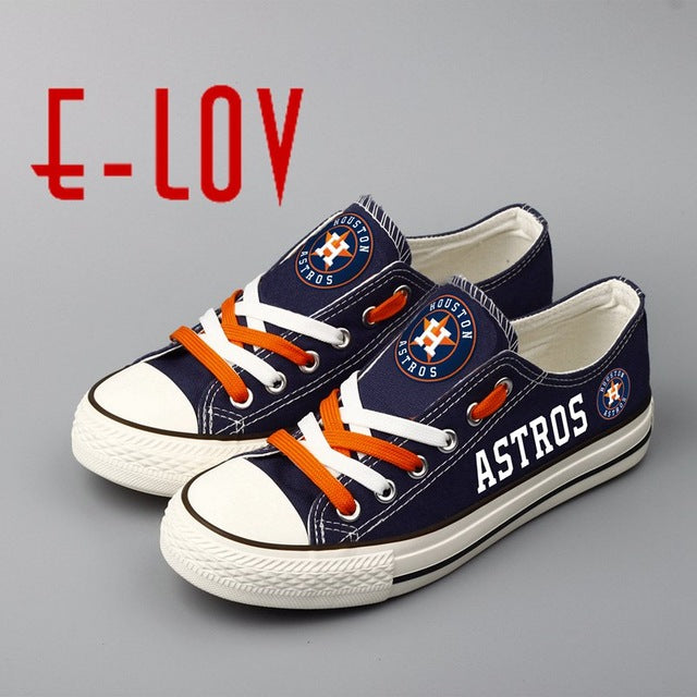 E-LOV 2018 New Design Astros Blue Canvas Shoes Houston Low Top Lace Canvas Shoes Boys Gift Print Flat Shoes Drop Shipping