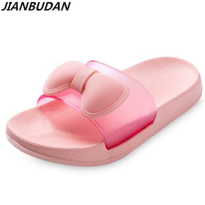 comfortable light breathable home slippers butterfly knot cute flat anti-skid bath slippers soft bottom wear Beach shoes