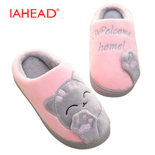 IAHEAD Warm Cat Winter Shoes Women Home Slippers Comfort Home Shoes For Women Plus Indoor Shoes Fur Slippers cat slippers UPD001