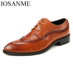 men formal shoes leather luxury brand snake fish skin pointed toe dress footwear male office italian brogue oxford shoes for men