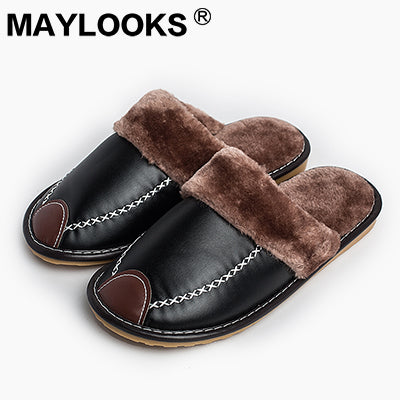 Men's Slippers Winter Pu Leather Thick With Plush Home Indoor Non-slip Thermal Slippers 2018 New Hot Sale Maylooks M-8831
