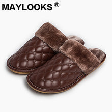 Men's Slippers Winter Pu Leather Thick With Plush Home Indoor Non-slip Thermal Slippers 2018 New Hot Sale Maylooks M-8838