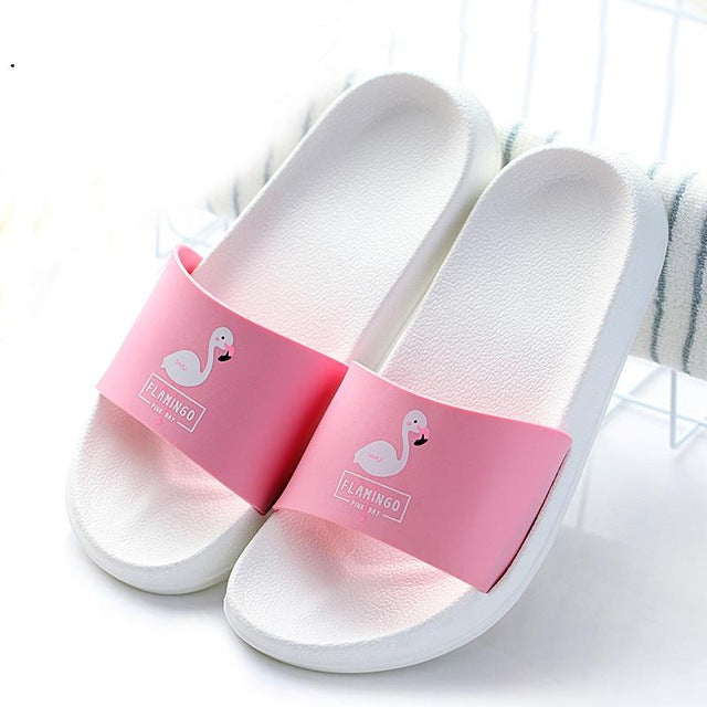Fashion 2018 Summer Women Slides Flamingo Cartoon Lovely Beach Slippers Platform Sandals Women Shoes Flip Flops Zapatillas Mujer