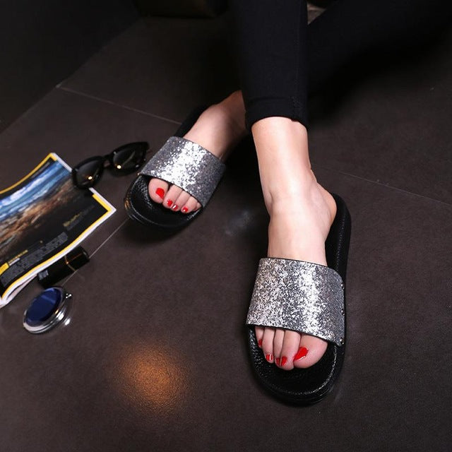 Bling Summer Women Slides Slippers Sandals Flip Flops Sexy Open Toe Slides Female Fashion Glitter Sandals Platform Zapatillas