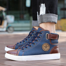Plus Size 38-47 Fashion High Top Men Shoes Canvas Men Casual Shoes For Autumn Winter Male Footwear Patchwork Drop Shipping