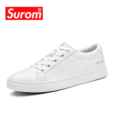 SUROM Men's Autumn Winter Sneakers Fashion Board Shoes Super Fiber Leather Krasovki White Color Brand Casual Shoes Laces Flats
