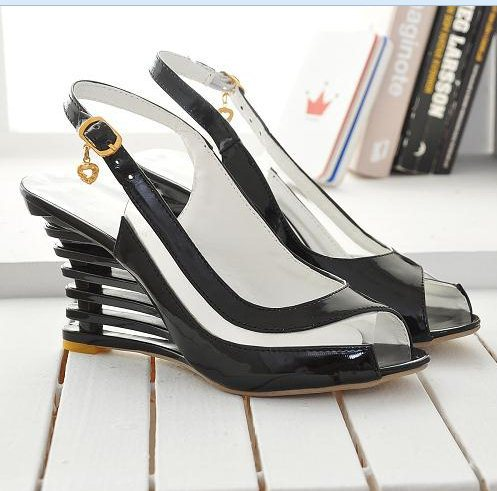 BONJOMARISA High Wedge Heel Sandals Buckle Open Toe Transparent Shoes Women's Summer Shoes Patent PU Sexy Summer Brand New Shoes