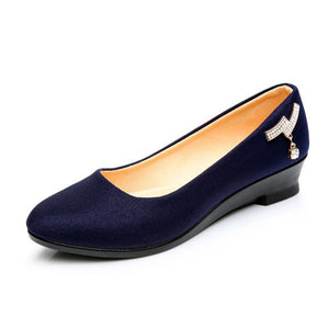 Women Ballet Shoes Women Wedges Shoes for Work Cloth Sweet Loafers Slip On Women's Pregnant Wedges  Shoes Oversize Boat Shoes