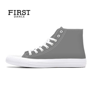 FIRST DANCE 2018 Spring High top Canvas Shoes Mens Casual Custom 3D Printed Shoes Youth Solid Color Dropshipping White Shoes Men