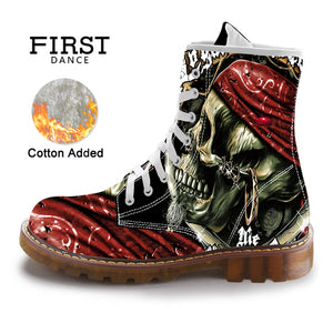 FIRST DANCE Street Fashion Mid-Calf Boots Men Dr Martins Black Skull Shoes Cotton Spring Mens Warm Cuctom Prtined Casual Boots