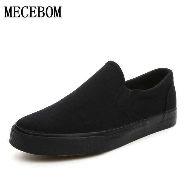 Men's canvas shoes fashion breathable slip-on flat loafers black Men's Vulcanized Shoes chaussure homme big size 39-46 h1688