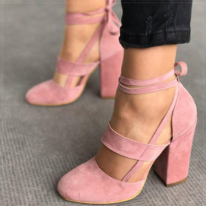 Women Pumps Comfortable Thick Heels Women Shoes Brand High Heels Ankle Strap Women Gladiator Heeled Sandals 8.5CM Wedding Shoes