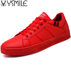 2018 Men Casual Shoes Black Flat Male Walking Shoes Leather Fashion Sneakers Brand Footwear Autumn Red Mens Rubber Shoes White