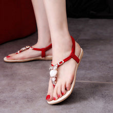 Women shoes 2018 hot fashion women sandals elastic t-strap bohemia beaded owl slipper flat sandals women summer style flip flop