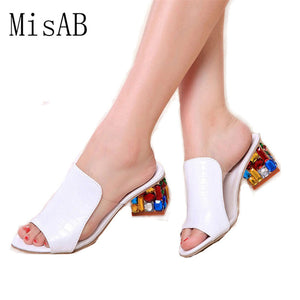 Women Sandals 2018 Ladies Summer Slippers Shoes Women high Heels Sandals Fashion Rhinestone summer shoes new  ALF19
