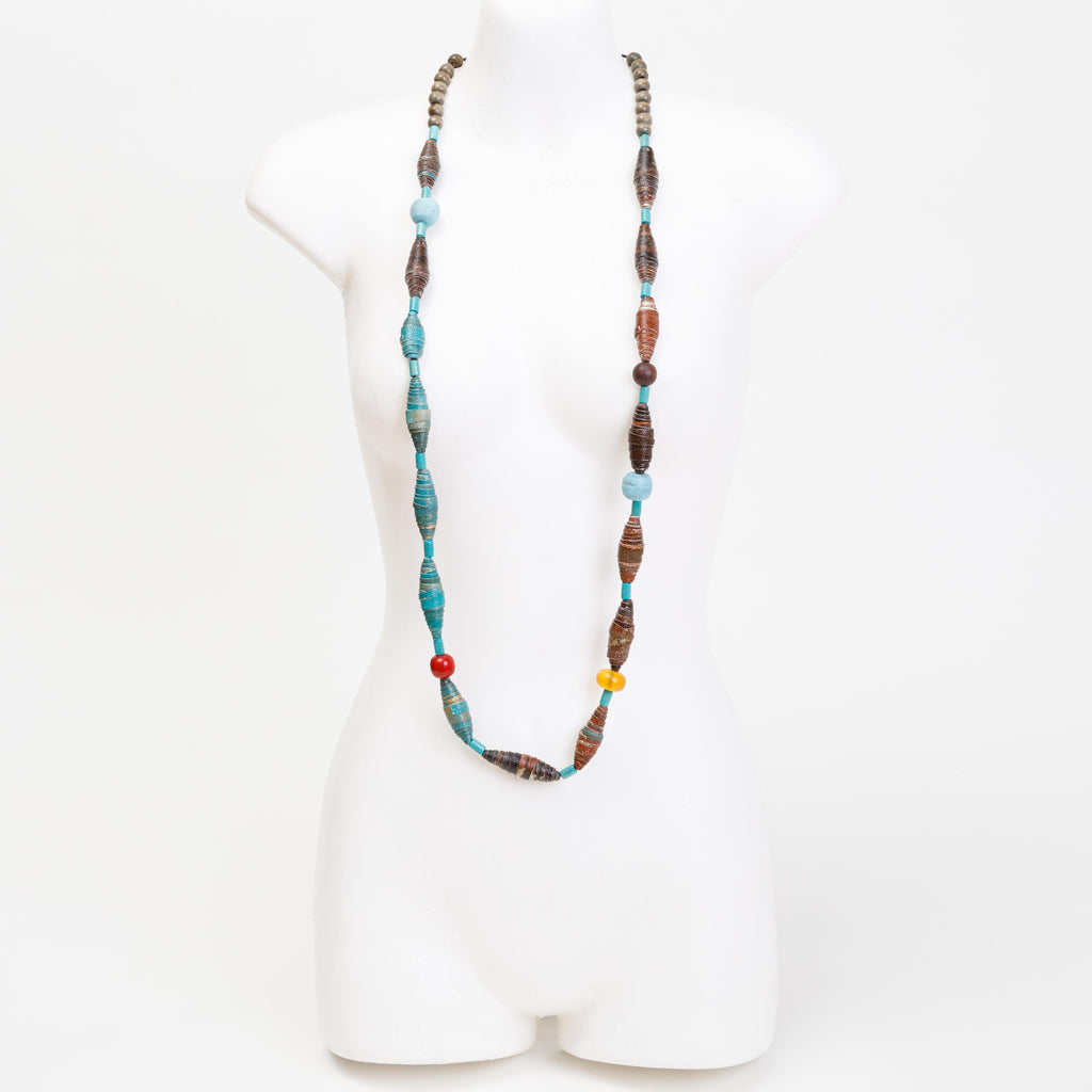 Handmade necklace made from bespoke and handmade canvas beads