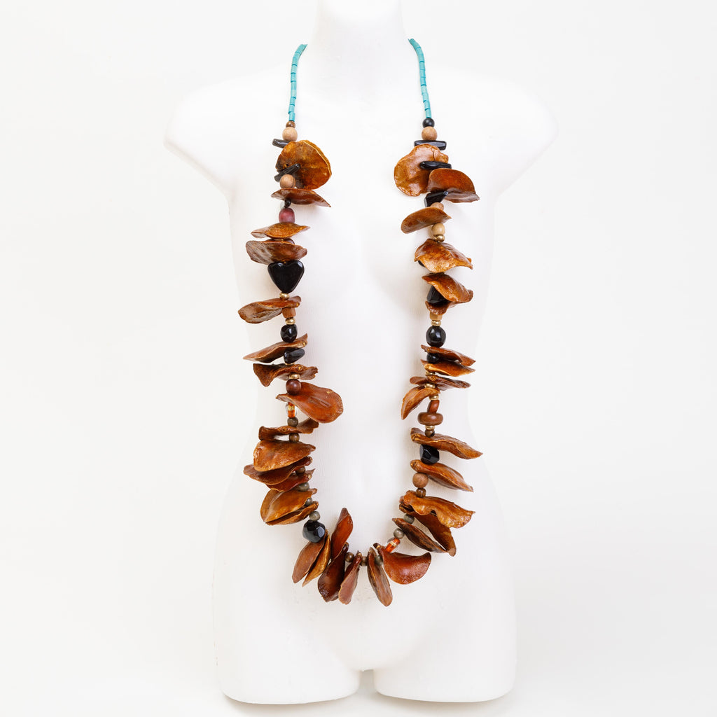 Handmade necklace made from jacaranda & botanic seed pods, & bespoke beads