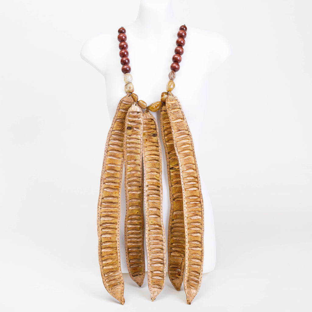 Handmade necklace made from Flat Banana pods, Cocoa pods, bespoke and wooden beads