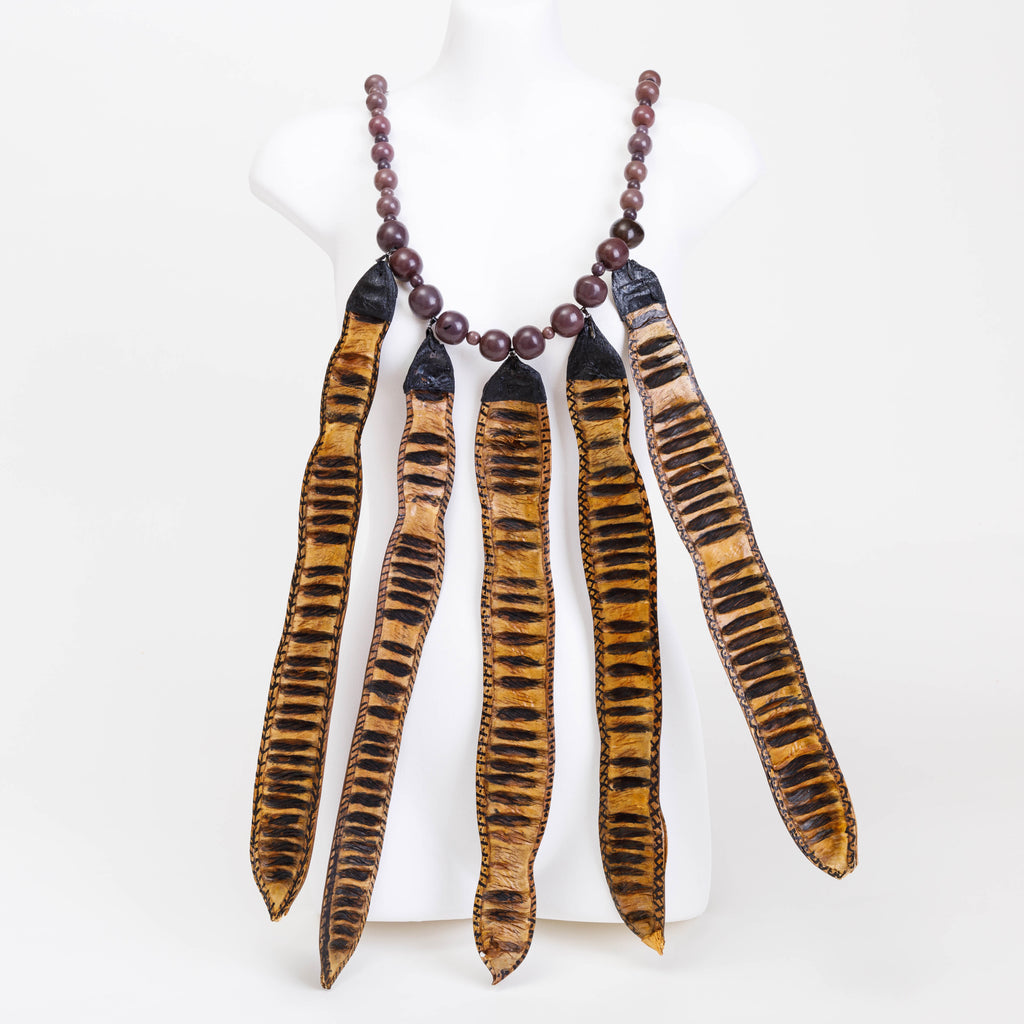 Handmade necklace made from Flat Banana pods, Cocoa pods and wooden beads