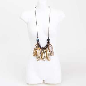 Handmade necklace made from Mango and Cocoa seed pods