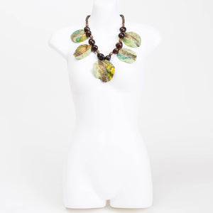 Handmade necklace made from eco dyed rice paper covered Jacaranda seed pods, bespoke beads & Cocoa seed pods