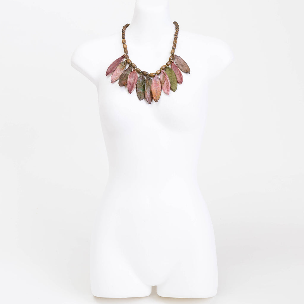 Handmade necklace made from eco dyed rice paper covered leaves & wooden beads