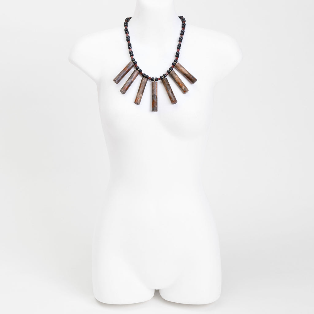 Handmade necklace made from eco-dyed rice paper covered wooden dowel, wooden and bespoke beads