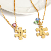 2pc Set Gold Tone Mother Daughter Crystal Puzzle Matching Charm Pendant Necklace Set Mother's Day Gifts