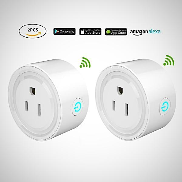 GMYLE Smart Plug 2 Pack Wi-Fi Enabled Mini Smart Socket Compatible with Amazon Alexa Google Home, Remote Control Outlet with Timing Function