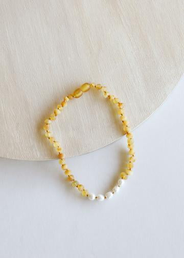 Necklace by Canyon Leaf | Raw Honey Amber + Pearl