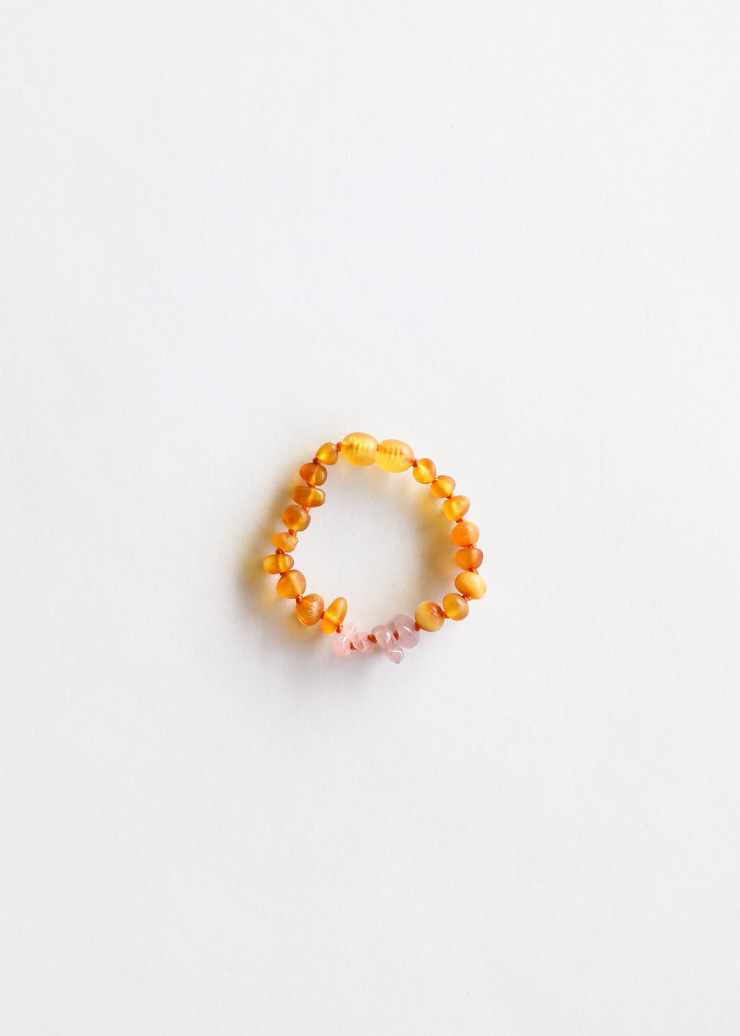 Bracelet/Anklet by Canyon Leaf | Raw Honey Amber + Rose Quartz