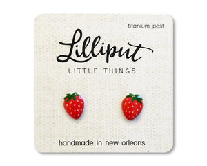 Stud Earrings by Lilliput Little Things | Strawberry