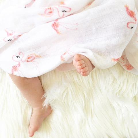 Organic Muslin Pram Blanket - Flying Flamingo