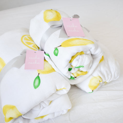 Organic Fitted Cot Sheet - Lemon Love