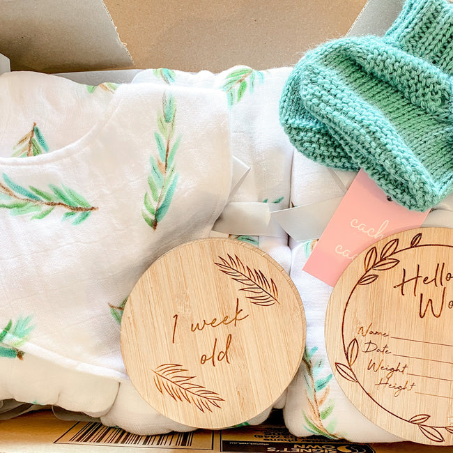 New Baby Pack - Full Set of Milestone Plaques, DIY Announcement Plaque, Wrap, Blanket, Bib & Booties