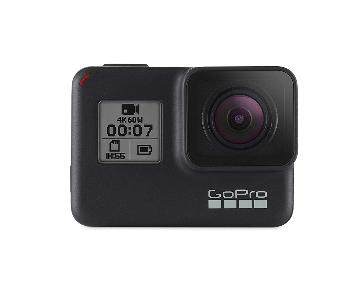 1.  GoPro HERO7 Black — Waterproof Digital Action Camera with Touch Screen 4K HD Video 12MP Photos Live Streaming Stabilization
