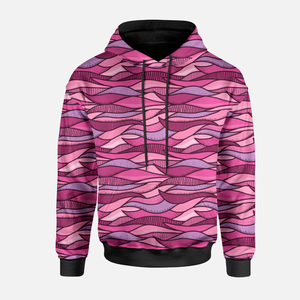 Patchwork Waves Pink/Purple GOTS-French Terry/Öglad Jogging