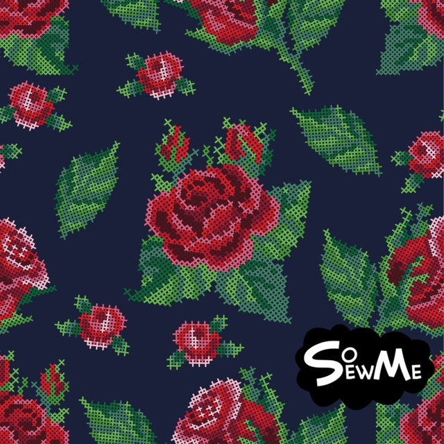 Cross Stitch Roses Trikå/Jersey Marine Blue-Red